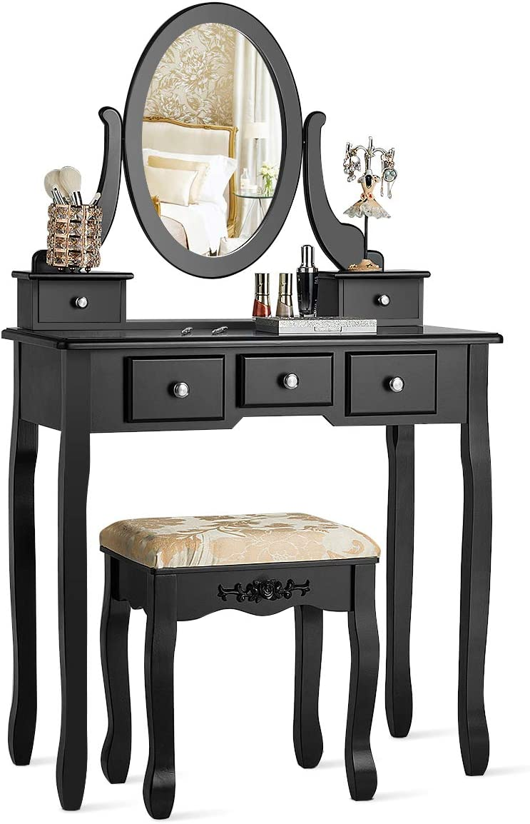 Vanity Table Bathroom Makeup Dressing Table with Round Mirror Bedroom Vanity Set w//Cushioned Stool and Drawers Women Girls Kids for Bedroom