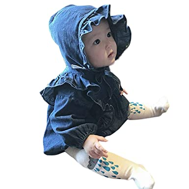 f85ac11e54b2 Outtop(TM) Newborn Baby Girl Long Sleeve Romper+Hat Bodysuit Outfits Denim  Clothes  Amazon.in  Clothing   Accessories