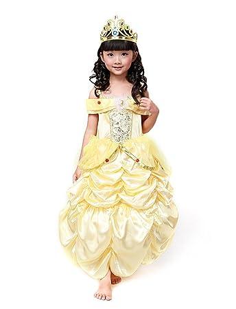 3829c7867d9fd (eones) ベル ロングドレス 美女と野獣 風 ワイヤーパニエ付き ふんわり 子供用
