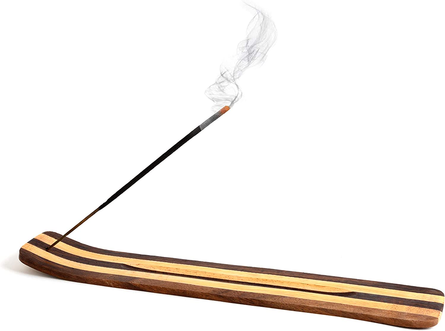 Wooden Incense Holder for Sticks Two Toned Striped Smooth Wood 10 inches Long