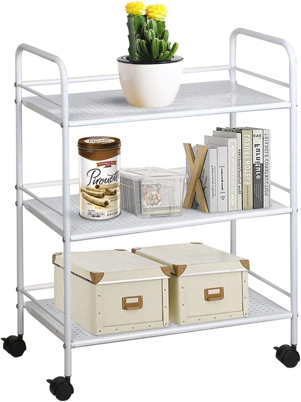 YAHEETECH 3 Tier Salon Trolley Cart Hair Rolling Cart 3 Layers Storage Tray Cart on Wheels Hairdressing Rolling Utility Storage Organizer Beauty SPA Tool Holder White 3 Tier