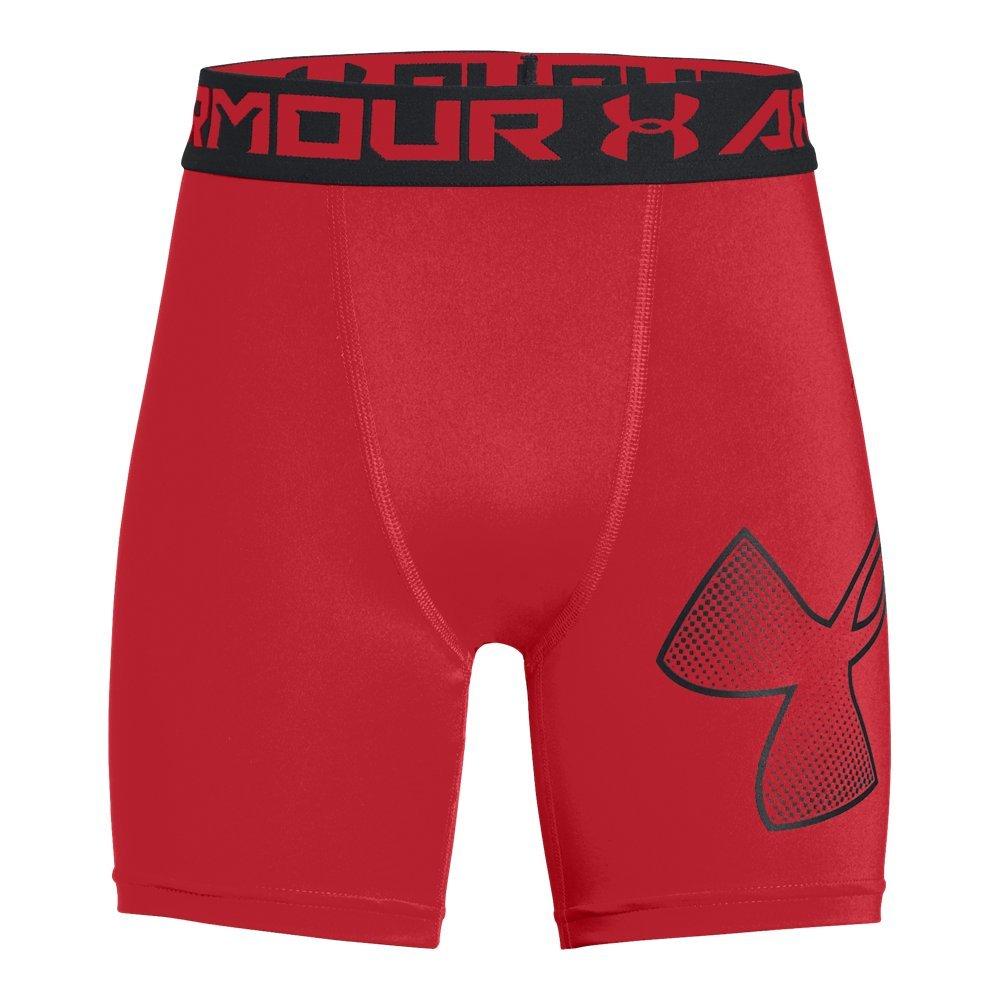 Under Armour Boys Heatgear Armour Mid Shorts, Red (601)/Black, Youth X-Small