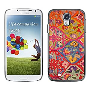 Paccase / SLIM PC / Aliminium Casa Carcasa Funda Case Cover para - Floral Pattern Art Ogee Red Colorful - Samsung Galaxy S4 I9500