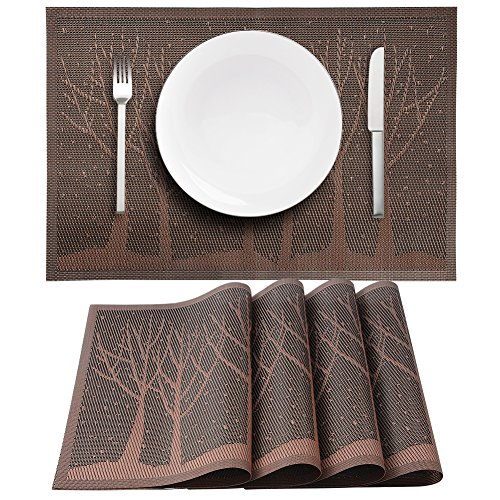 VERENIX Placemats Set of 4 PVC Woven Vinyl Placemat for Dining Table Heat Resistant Stain Resistant Kitchen Table Mats Washable(Brown tree)