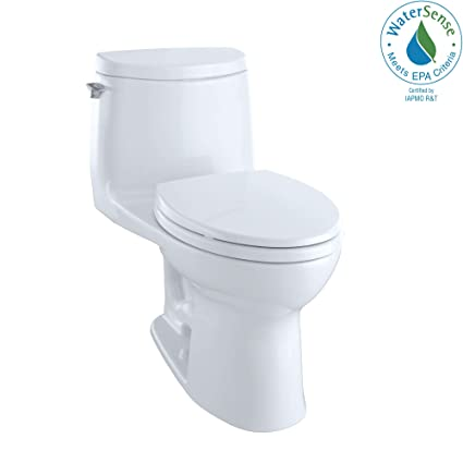 TOTO MS604114CUFG#01 UltraMax II 1G One-Piece Elongated 1 0 GPF Universal  Height Toilet with CEFIONTECT, Cotton White
