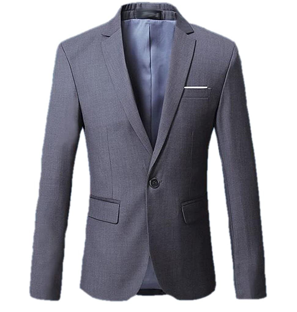 Cafuny Mens Casual Slim Stylish One Button Solid Color Suit Jacket Blazer Coat