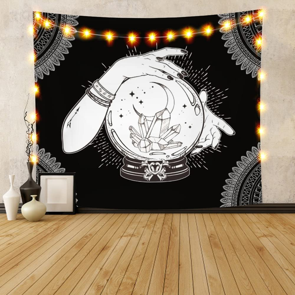YongFoto 51.1x44.5 Inches Black and White Tapestry Wall Hanging Hand Drawn Magic Crystal Ball Hands of Fortune Teller Gothic Decor Tapestry for Room Home Decor