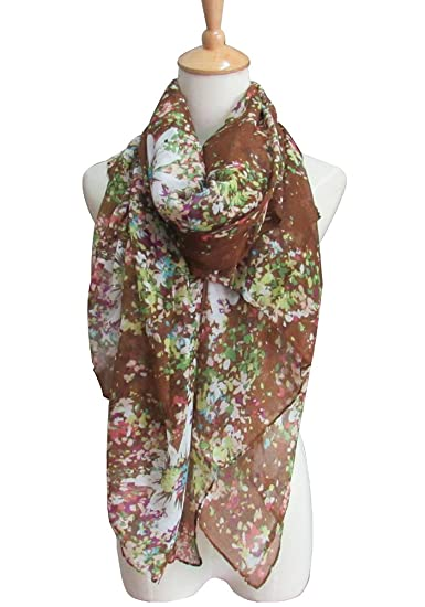 443ee8bff Amazon.com: Women's Lightweight Fashion Shawl Floral Printed Spring Summer  Scarves Girls Gift (One_Size, Brown): Clothing