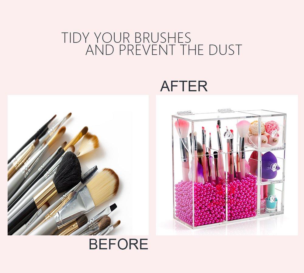 gl makeup brush holder with lid saubhaya makeup. Black Bedroom Furniture Sets. Home Design Ideas