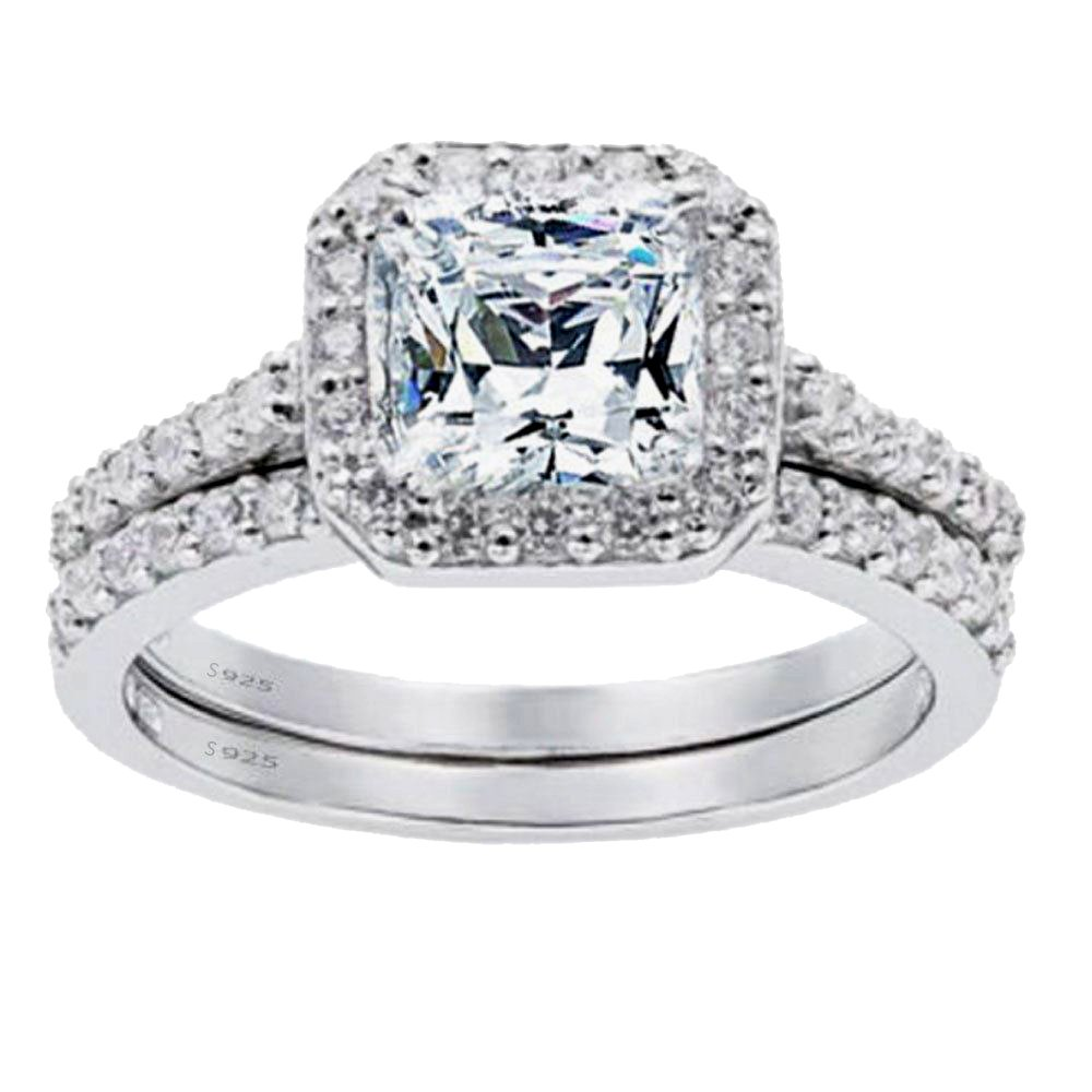 Mabella Women's 1.8 CTW Princess Cut 925 Sterling Silver CZ Wedding Engagement Ring Set Bridal Ring Band MB-RWSCZ131