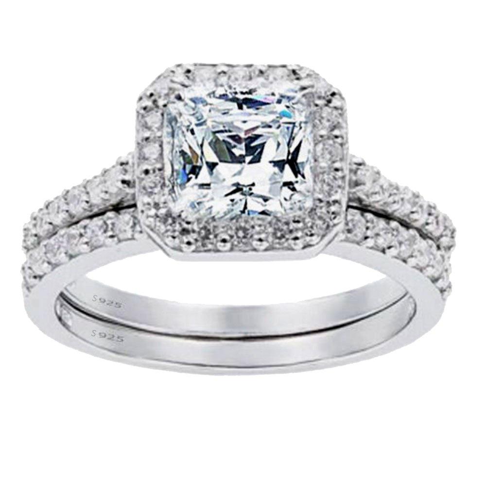 Mabella Women's 1.8 CTW Princess Cut 925 Sterling Silver CZ Wedding Engagement Ring Set Bridal Ring Band