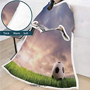 Bernie Vogt-sosung Sports Decor Premium Sherpa Deluxe Fleece Blanket with Sleeves,Soccer Ball on Green Grass Dark Clouds Sunrise Meadow Landscape Picture Throws Wrap Robe Blanket for Adult Women,Men,