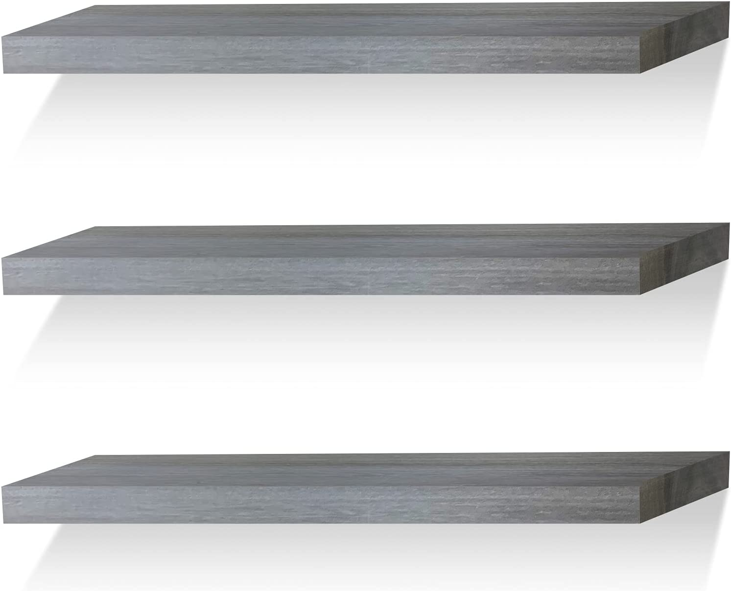 Floating Shelves Wall Mounted Shelf Solid Wood for Bathroom Kitchen Bedroom Rustic Decor Set of 3, Weathered Gray Wall Shelves