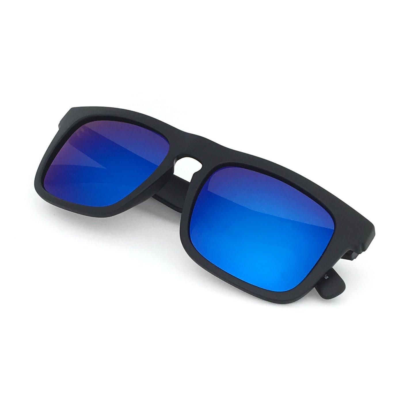 3e75b91bf4 Amazon.com  J+S Raglan Surfer s Choice Flash Mirror Lens Standard Fit  Square Matte Finish Polarized 400UV Sunglasses for Men (Blue Mirror Lens)   Sports   ...