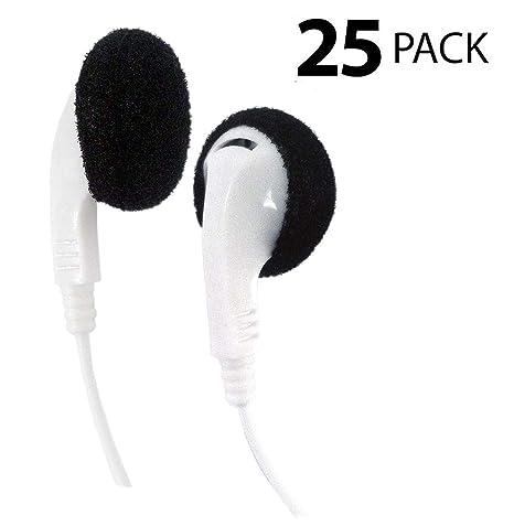 Amazon.com  Bulk Disposable Headphones Stereo TT-1 White Earbuds 25 ... 7d97170904b51