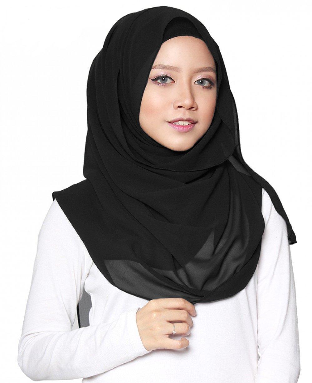 75fb1c1241ff SAFIYA - Hijab pour femmes musulmanes voilées I Foulard voile turban  écharpe châle islamique bonnet abaya I Mousseline de soie I Noir - 75x180cm