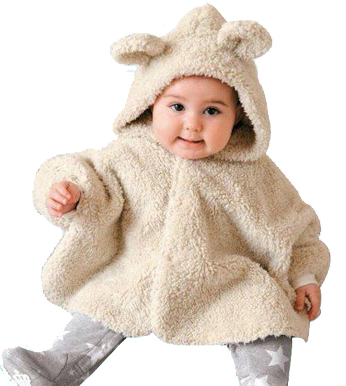 LOTUCY Baby Boys Girls Coats Smocks Outerwear Cartoon Bear Fleece Cloak Poncho Cape Size 12-24Months (Beige)