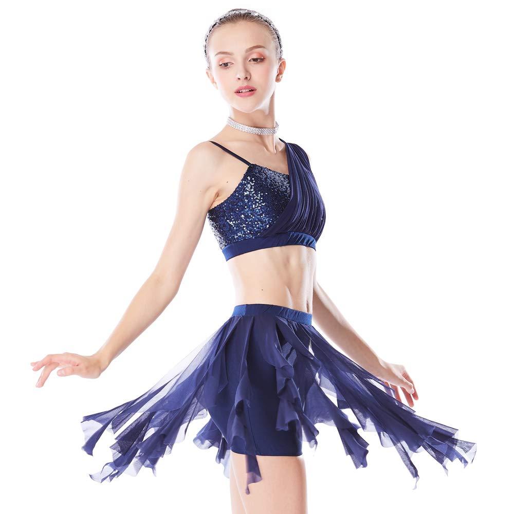 Bleu marine MiDee 2 pièces Paillette Tube Top Diagonal-Neck Floral épaule Irreguar Dance Dress LA