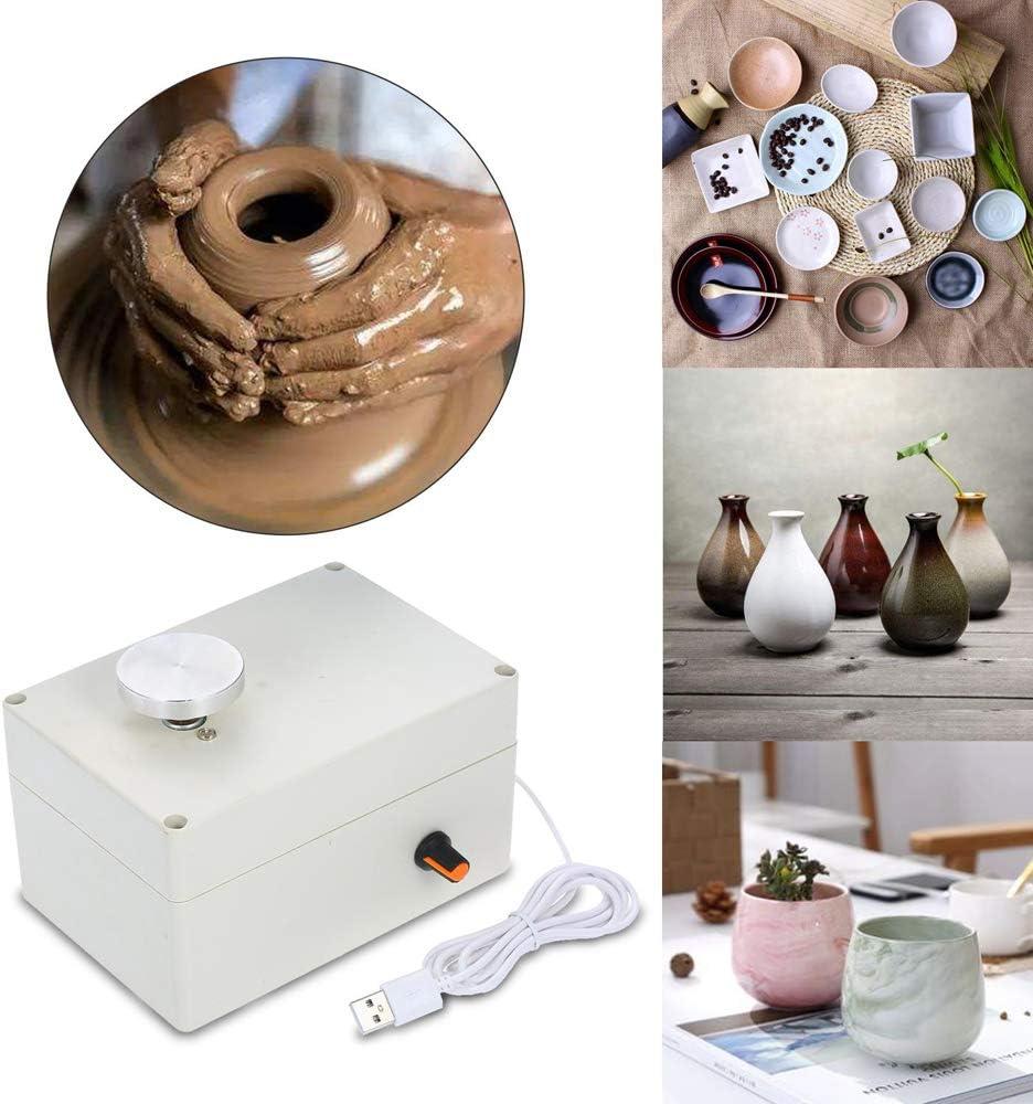 Mini-USB-T/öpferwaren 5 V Riiai Elektrisches T/öpferrad Keramik-Maschine Ton-Potter-Kit 6,5 cm