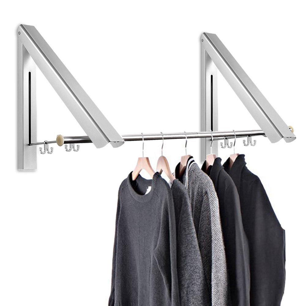Home Improvement Bathroom Shelves Fold Collapsible Triangular Wall Mounted Clothes Storage Drying Rack With Hanging Rod For Heavy Duty Bathroom Balcony Laundry