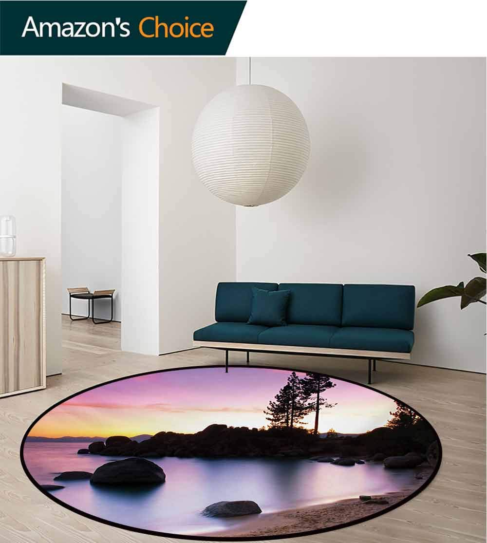 RUGSMAT Landscape Modern Machine Washable Round Bath Mat,Golden Sandy Beach by The River with Fairy Sky Relax Simple Life Art Photo Non-Slip Soft Floor Mat Home Decor,Diameter-71 Inch