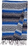 Authentic 6' x 5' Mexican Siesta Blanket (Blue)