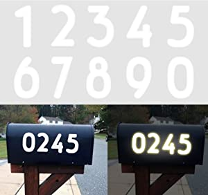 80Pcs Mailbox Numbers Sticker Reflective Self-Adhesive Vinyl Decal Door House Address Numbers Stickers 3'' Waterproof Mailbox Sign for Home Office Room, 0-9, Silver White