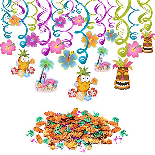 (Konsait Hawaiian Decorations Luau Party Hanging Swirls (30pcs), Pineapples Flamingos Coconut Palm Confetti (0.53oz) for Tropical Flamingo Summer Holiday Beach Pool Party Favors Supplies)