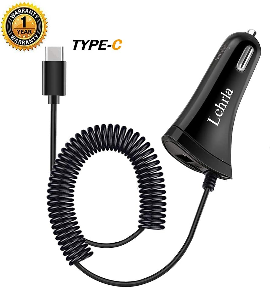Google Pixel Carhope Ultra Rapid Dual-Port Charger Adapter USB C Cable for Samsung S9 S8 S9+ Note 9 Xiaomi Compatible for Samsung Galaxy S10 S10+ S10E USB Type C Car Charger LG G7 G6