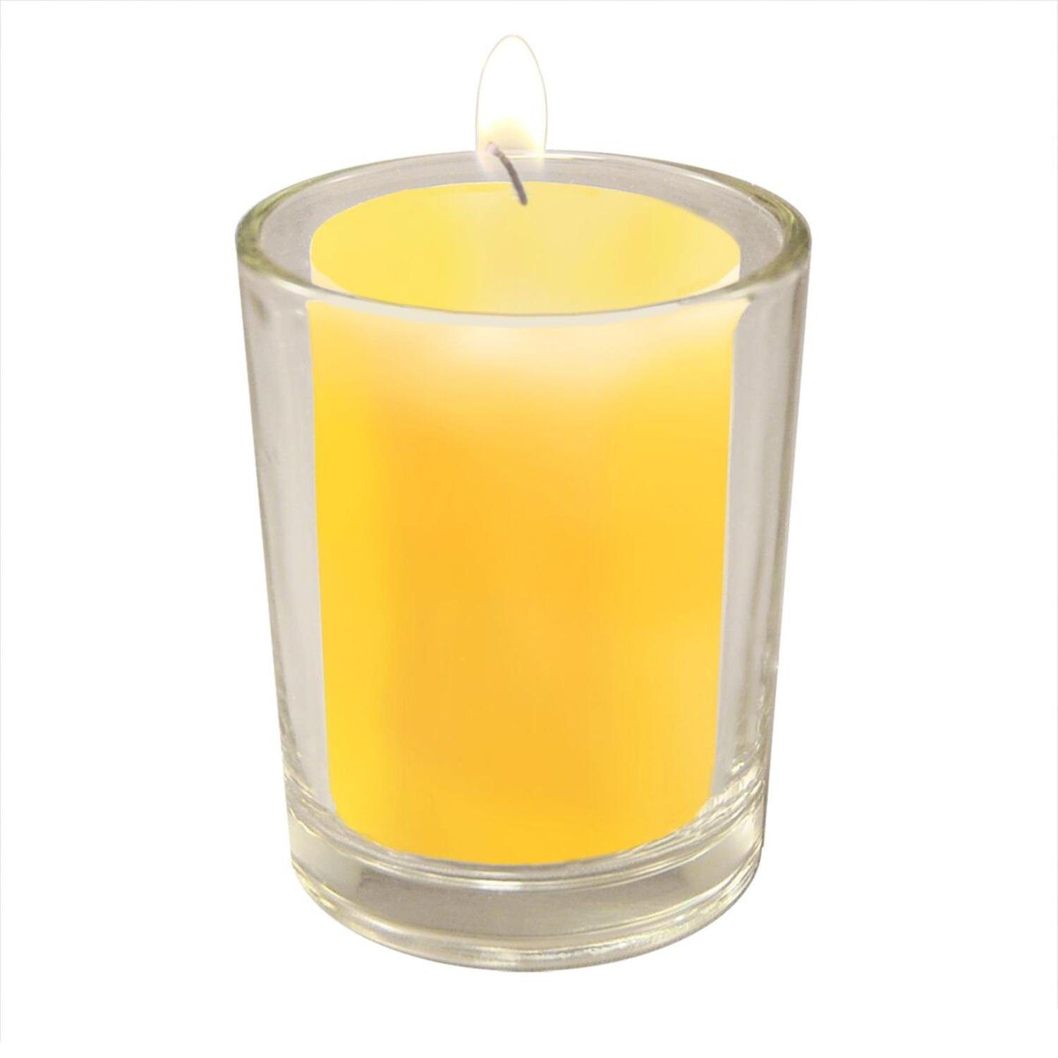 CC Home Furnishings Club Pack of 36 Citronella Candles with 12 Clear Glass Votive Candle Holders 2.5''