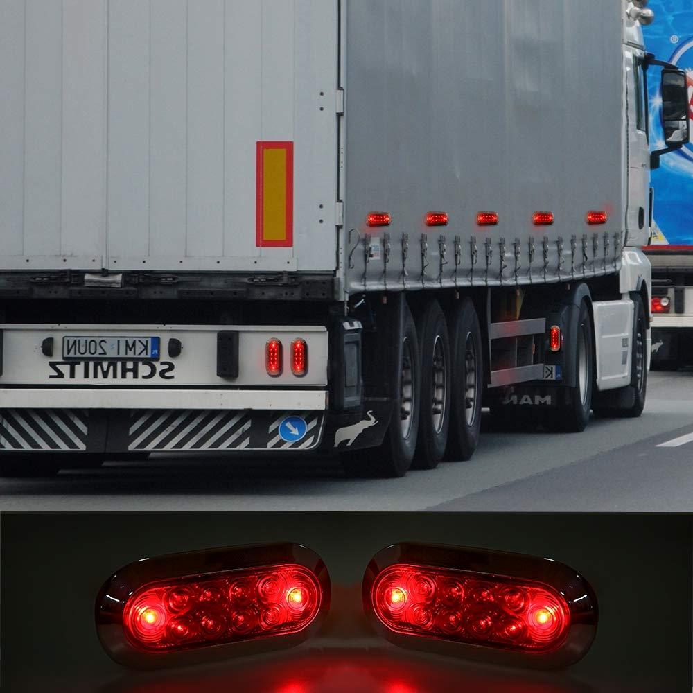 Pack of 2 DOT Certified NOVALITE 12V DC 6 Inch Oval Red LED Brake Stop Turn Trailer Tail Truck Lights with Flush Mounted Black Bezel