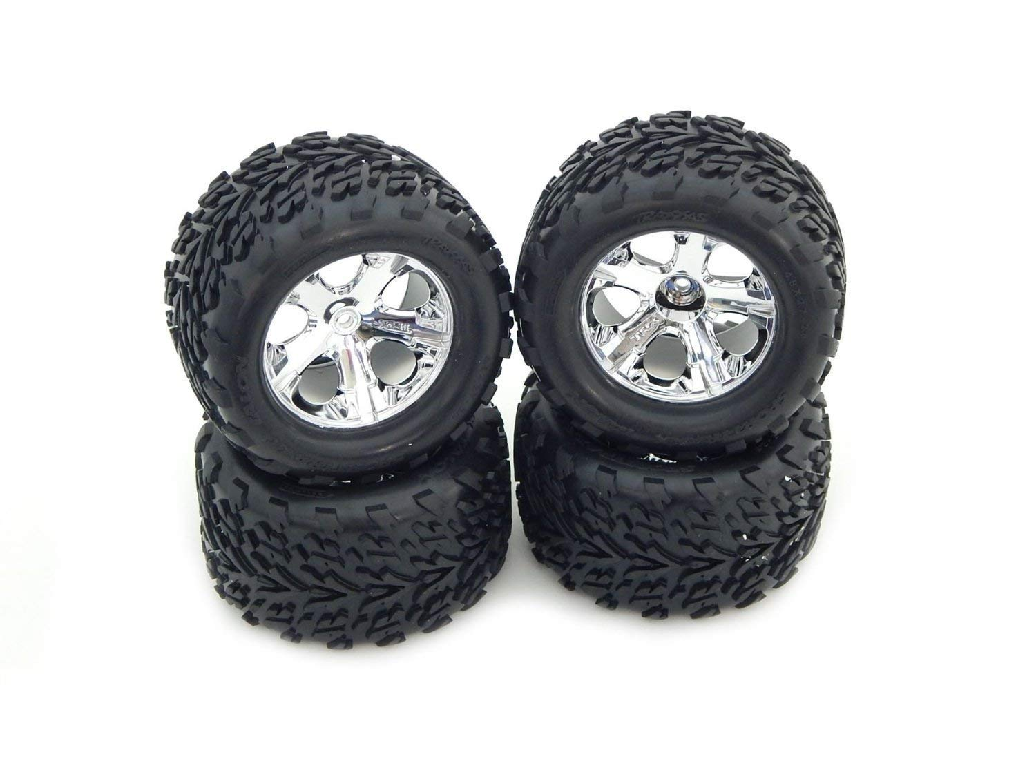 TRAXXAS 1/10 STAMPEDE 2WD SET OF (4) TIRES AND WHEELS.TRAXXAS 2.8'' MOUNTED ALLSTAR WHEELS AND TIRES, THE BEST TIRES EVER MADE FOR THE TRAXXAS STAMPEDE TRUCK.