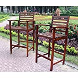 International Caravan VF-4150-2CH-IC Furniture Piece Set of Two Highland Acacia Maine Bar Stool with Arms