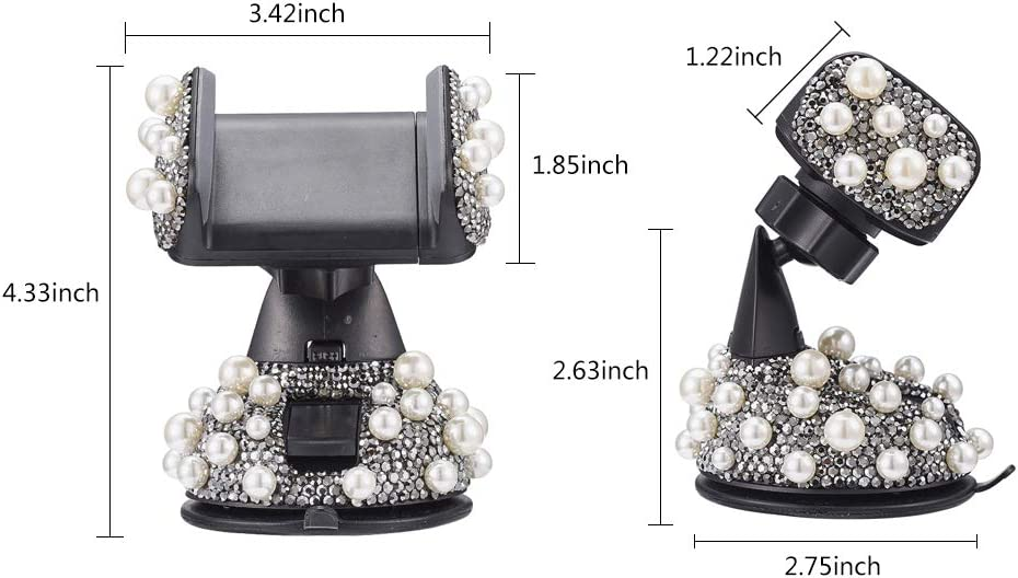 Pink ATMOMO Bling Rhinestone and Pearl Universal Car Phone Mount Car Phone Holder for Car Dashboard Air Vent Adjustable Cell Phone Stand