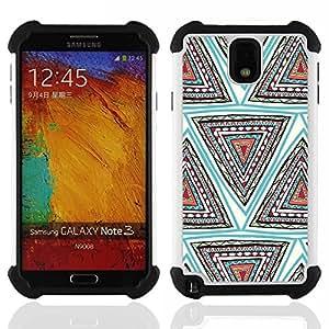 /Skull Market/ - Aztec Moustache Nebula Tribal Patterns For Samsung Galaxy Note3 N9000 N9008V N9009 - 3in1 h????brido prueba de choques de impacto resistente goma Combo pesada cubierta de la caja protec -