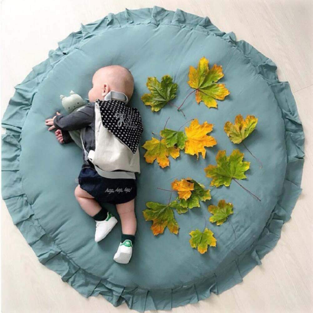 Dark Gray HOUTBY Round Carpet Sweet Baby Playmat Kid Rug Cartoon Color Soft Comfortable Play Mat Baby Room Decoration