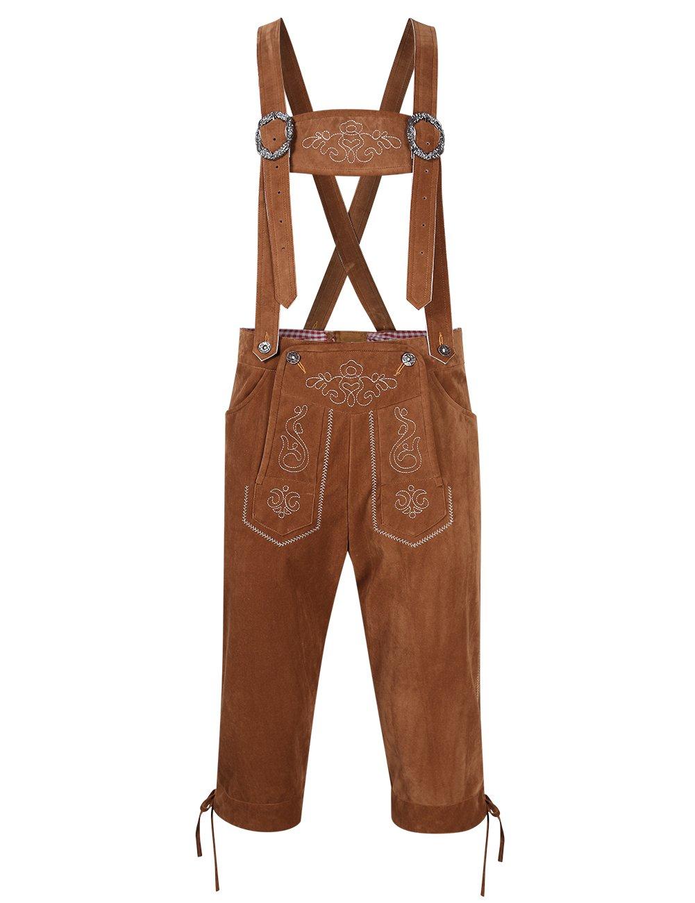Clearlove Men's Stylish Embroidery Strap Pants Vintage Faux Fleece Party Dress Pants for Oktoberfest Khaki L