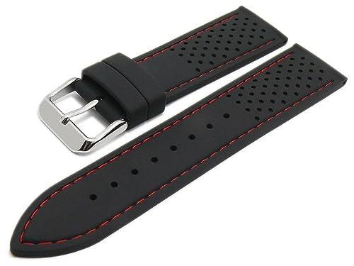 Meyhofer Uhrenarmband Veteli 22mm schwarz Silikon Racing-Look rote Naht MyCrkkb525/22mm/schwarz/rN