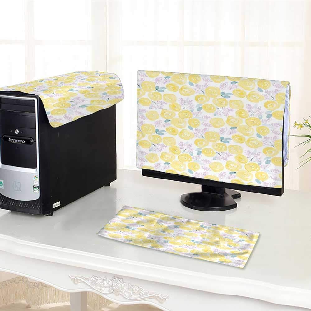 Jiahonghome ワンマシン液晶ディスプレイモニター キーボードカバー フラワー シームレスと葉 ピンクブルー ダストカバー 3個/17インチ W28