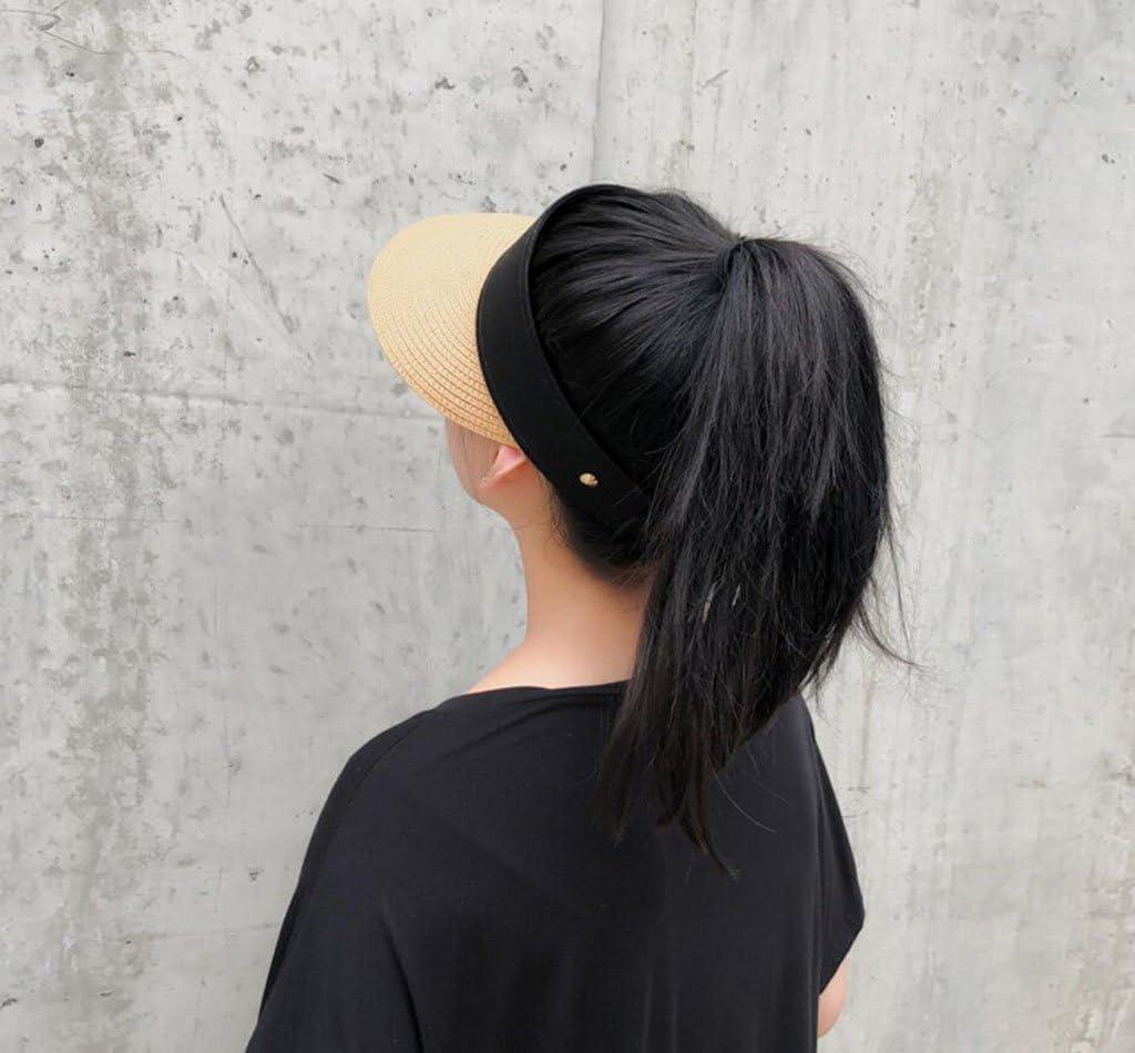 PMFENDDL 2018 Net Red Empty Top Hat Female Summer Fashion Sun Visor Holiday Outing No Sun Hat Korean Version Of Straw Hat Wild Student Capless Cap,Beige