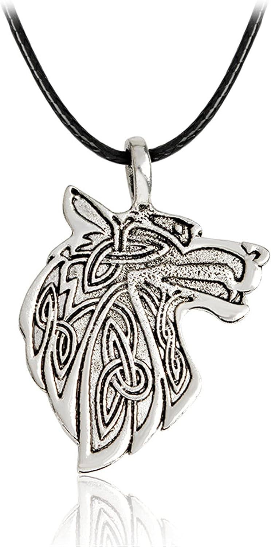 PuuuK Viking Viking Series Fox Wolf Eagle Colgante Collar Accesorios De Regalo para Hombres Y Mujeres,B