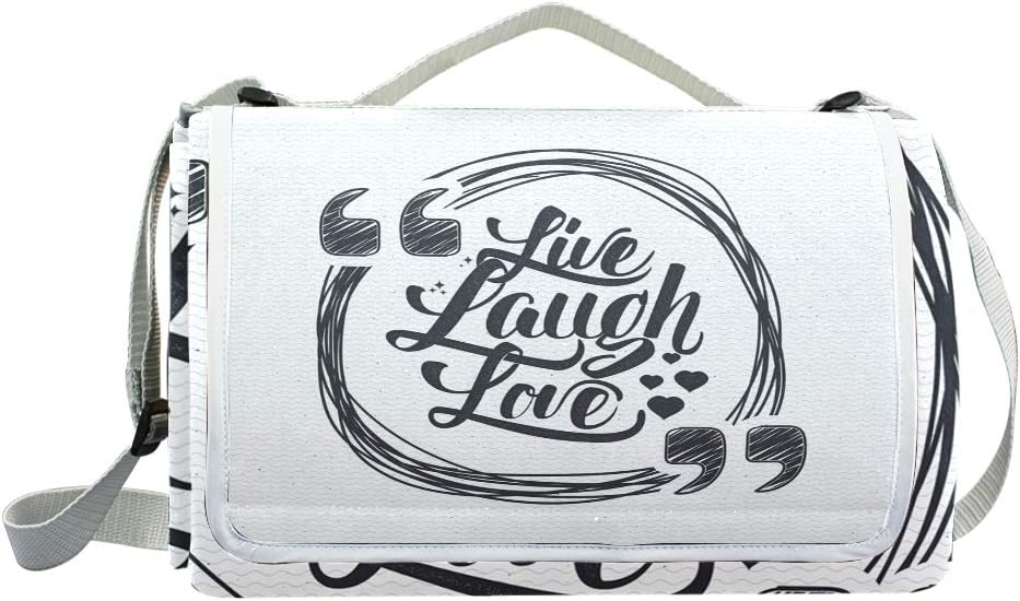 XINGAKA Coperta da Picnic Tappetino Campeggio,Live Laugh Love Motivation Life Print,Giardino Spiaggia Impermeabile Anti Sabbia 12