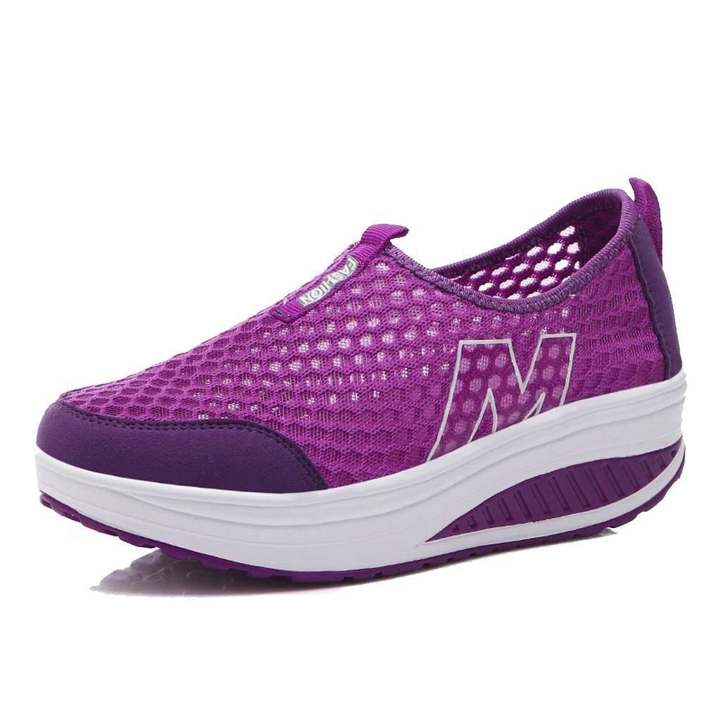L LOUBIT Women Sneakers Comfort Slip On Wedges Shoes Breathable Mesh Walking Shoes For Women B076Z7Y4GN 9.5 B(M) = foot 10.10inch|Purple