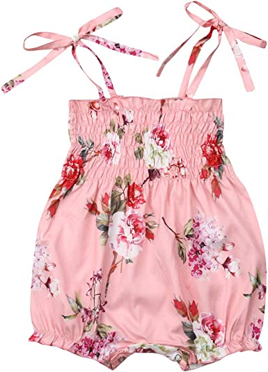 Newborn Infant Baby Girl Solid Jumpsuit Embroidery Floral Romper Bodysuit Outfit