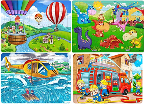 (Floor Puzzle Children's Jigsaw Puzzle Learning Toys Wooden Puzzle Kindergarten Solid Wood Structure for Children Set 2-5 Years Old, 40 Pieces 60 Pieces,Cartoon Flat Puzzle Boys and Girls (4)