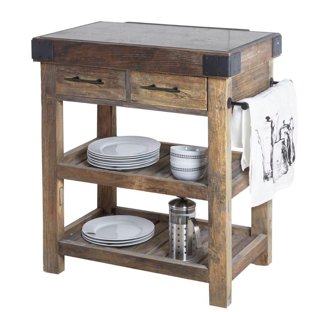 Kücheninsel Ulmenholz recycelt Steinplatte schwarz 87x90x55cm ...