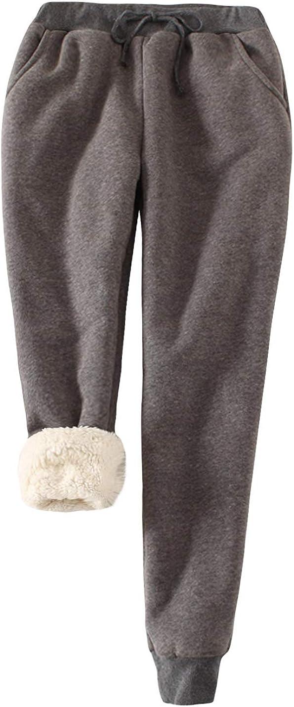 HUPOO Womens Warm Winter Fleece Lining Sweatpants Running Active Sherpa Lined Jogger Pants