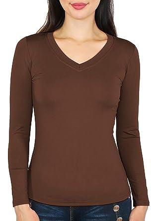 960d52b240972a Basic Damen Langarmshirt Thermo Shirt Frauen angeraut Innenfutter Langarm T- Shirt Unterhemd - 10 Farben - LD002 (S M - 36 38