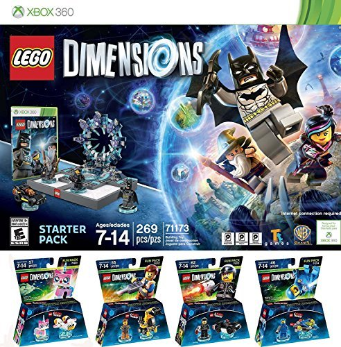 LEGO Dimensions Starter Pack for Xbox 360 PLUS LEGO Movie Bundle with Emmet 71212, Bad Cop 71213, Benny 71214, and UniKitty 71231 by VendorasBox