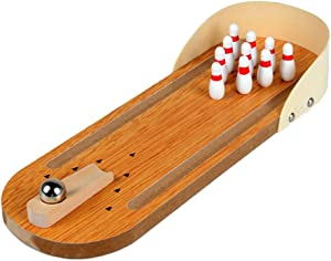 Fengirl Mini Bowling Game,Mini Wooden Tabletop Bowling Game for Kids and Adults